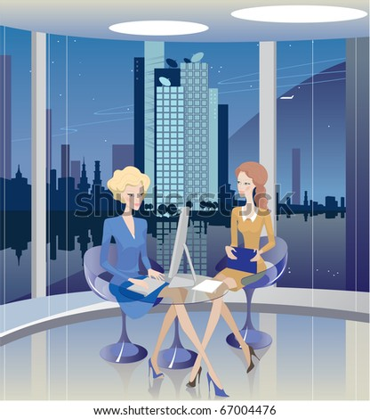 Business ladies carry on negotiations. Office, evening. Vector - stock vector