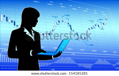 Business lady with laptop (EPS10 vector) - stock vector