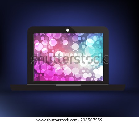 Business laptop With beautiful background circle