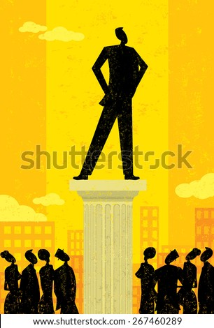Business Leader,  Business people looking up at their leader. The leader & column and background are on separately labeled layers. - stock vector