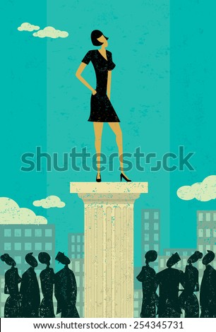 Business Leader Business people looking up at their leader. The leader & column and background are on separately labeled layers. - stock vector