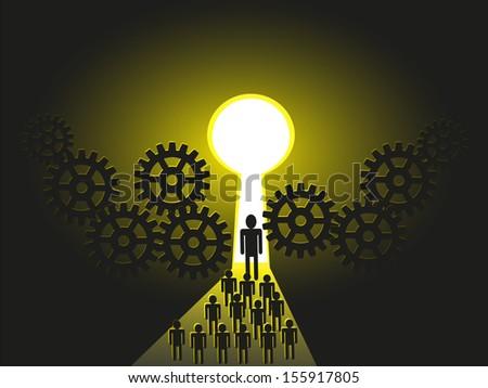 Business leader leading his team members, subordinates, peers, colleagues, followers, towards a Success door - stock vector