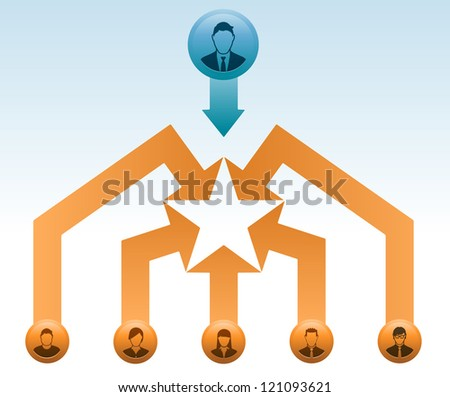 Business leader tguides the all-star team to success. - stock vector