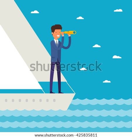 Business leadership and goal concept. Businessman stands in yacht looking through spyglass into future in ocean. Flat design, vector illustration. - stock vector