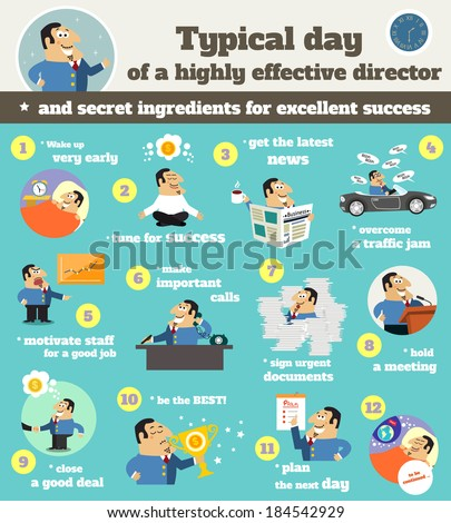 Business life executive chief officer director schedule typical workday from dusk till down infographics vector illustration - stock vector