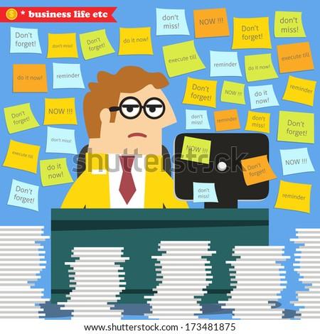 Business life. Hard work in progress, paperwork piles around the desk  vector illustration - stock vector