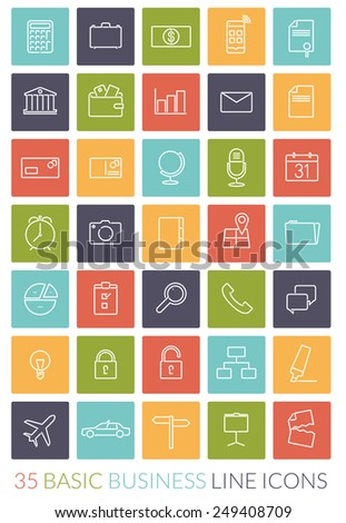 Business Line Icon Vector Set. Collection of 35 basic business line icons in colored rounded squares - stock vector