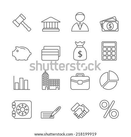 Business Line Icons Set - stock vector