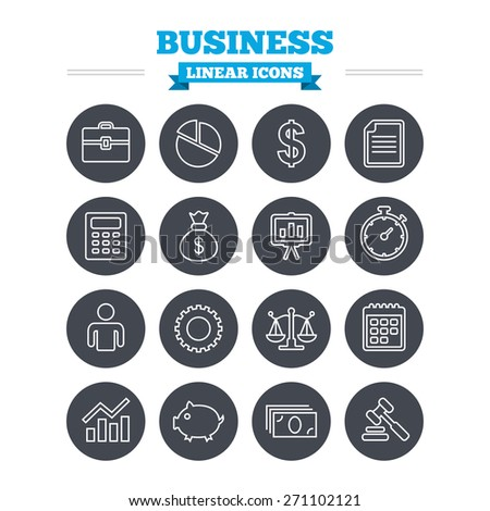 Business linear icons set. Businessman, briefcase and documents symbols. Presentation pie chart, money bag and justice scales thin outline signs. Dollar USD currency. Auction hammer. Flat circle - stock vector