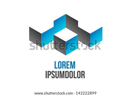 business logo design in abstract 3d geometric shape - vector icon - stock vector