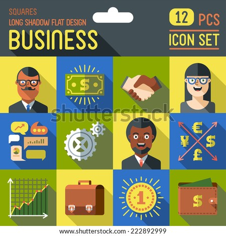 Business. Long shadow flat design square icon set. Vector trendy illustrations. - stock vector