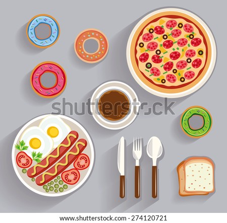 business lunch, dinner table - top view (flat concept, vector illustration) - stock vector