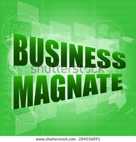 business magnate words on digital touch screen vector - stock vector