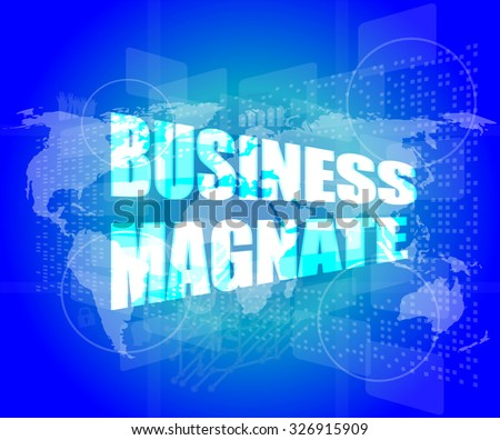 business magnate words on digital touch screen vector illustration - stock vector