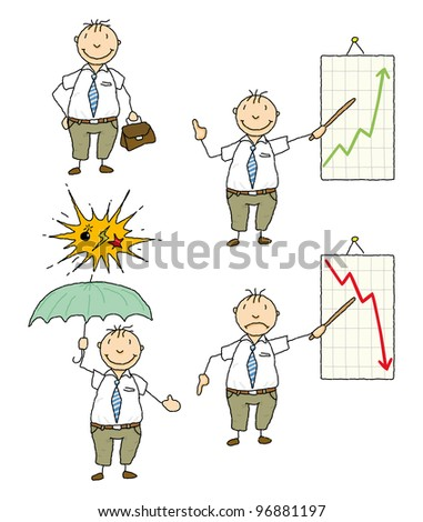 business man. A businessman in action ! - stock vector