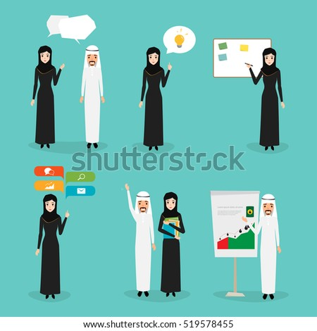Business man and business woman character. Arab people with job character.