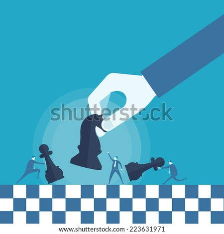 Business man and chess board  - stock vector