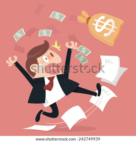 Business man and frightened about paying a lot of bills. - stock vector