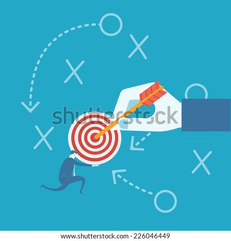 Business man and target board  - stock vector