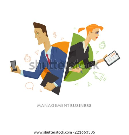 Business man and woman flat illustration. Flat vector illustration - stock vector