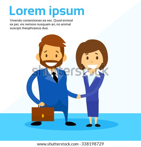 Business Man and Woman Handshake Contract Communication, Businessman Businesswoman Hand Shake Flat Vector Illustration - stock vector