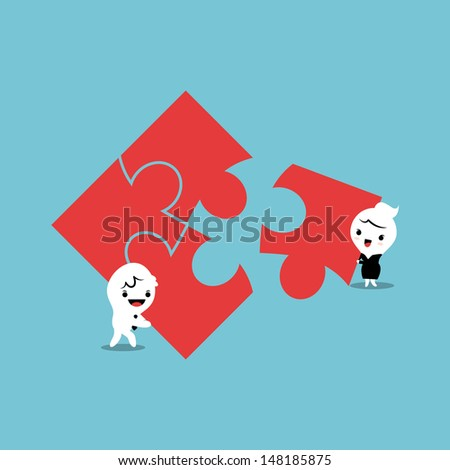 business man and woman putting together jigsaw puzzle pieces - stock vector