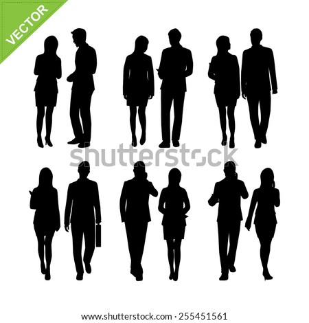 Business man and woman silhouette vector