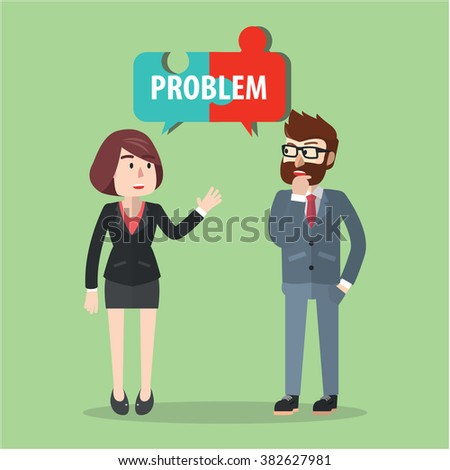 Business man and woman solving problem - stock vector