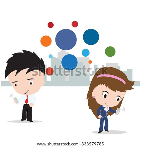 business man and woman working on internet for social network concept, isolated on white background, vector illustration - stock vector