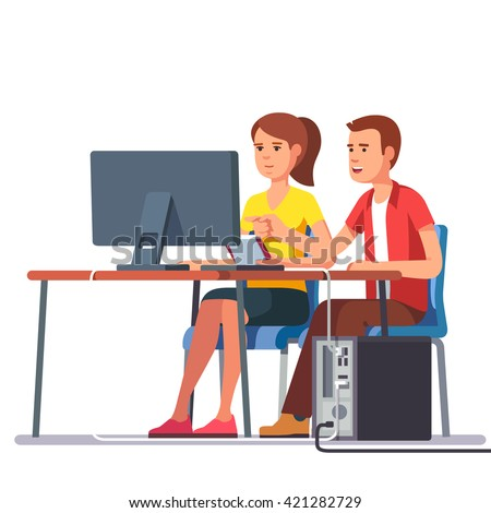 Business man and woman working together sitting at one desk with desktop computer big monitor. Flat style color modern vector illustration. - stock vector