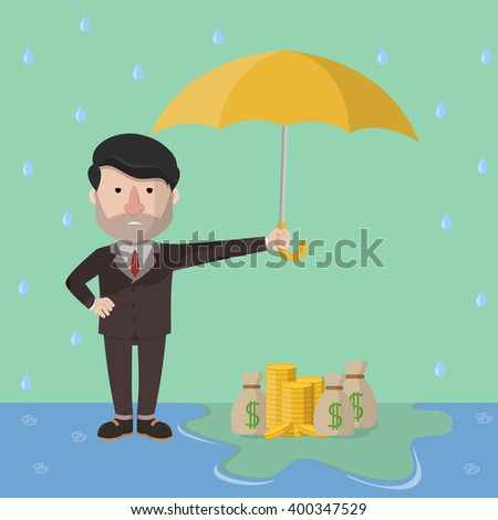 Business man assets protectiong - stock vector