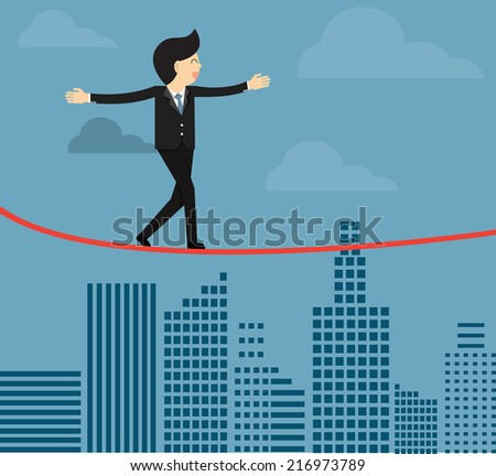 Business man balancing on the rope - stock vector