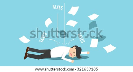 business man bankrupt and falling down because of taxes - stock vector