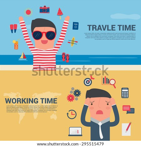 Business Man Banner travel time and working time, Summer Holiday Vector illustration - stock vector