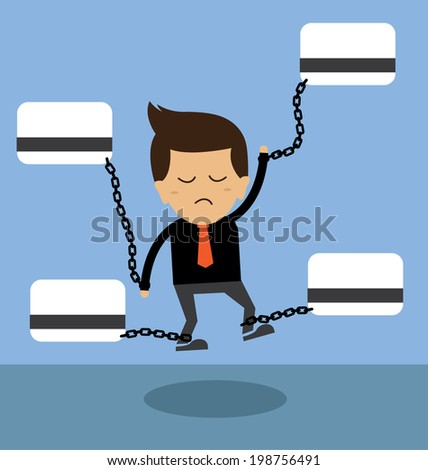 Business man burden with credit card - stock vector