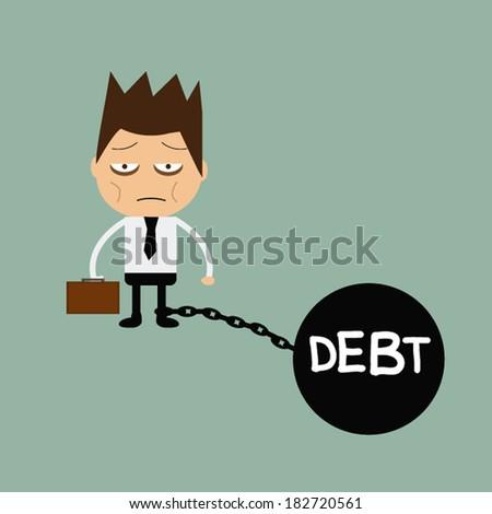 Business man burden with Debt - stock vector