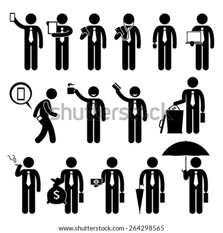 Business Man Businessman Holding Various Objects Stick Figure Pictogram Icons - stock vector