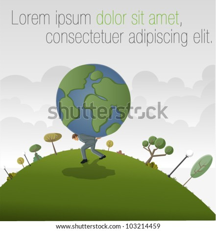Business man carrying earth planet globe - stock vector