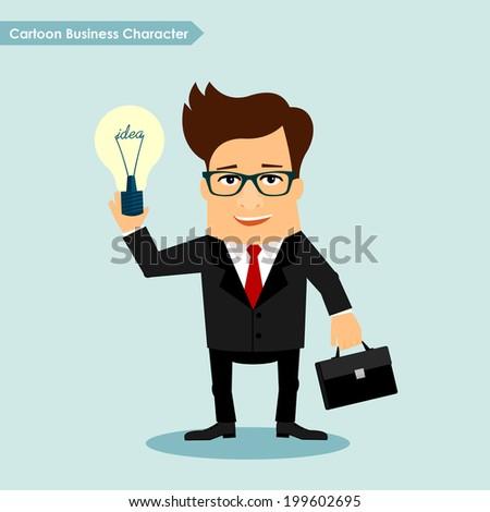 Business man cartoon character holding idea lamp symbol vector illustration - stock vector