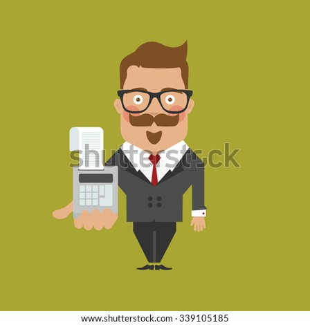 Business man character/ accountant, bookkeeper, purser,audit, with calculator - stock vector