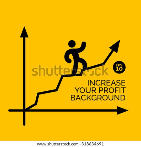 Business man climbing on graph arrow. Abstract flat design concept on yellow background. Increase profit with positive chart illustration design template - stock vector