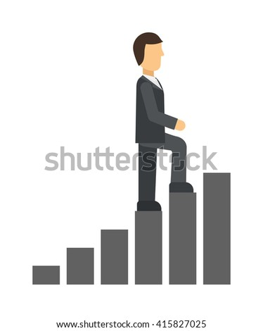 Business man climbing up on hand drawn staircase concept. Business success progress up step career ladder and opportunity achievement career ladder. Work businessman career ladder leadership ambition. - stock vector