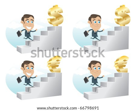 Business man climbing up the stairs towards Dollar and Euro - stock vector