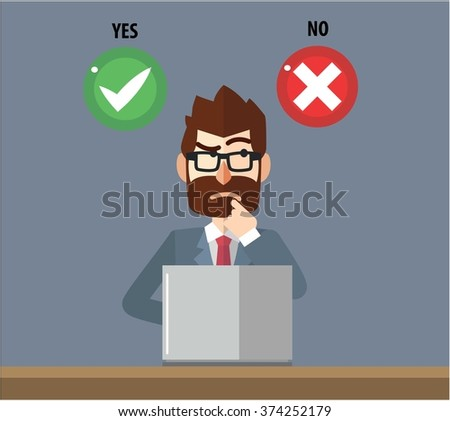Business man confused choosing option - stock vector