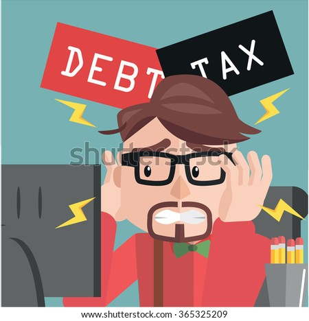 Business man depressed debt and tax - stock vector