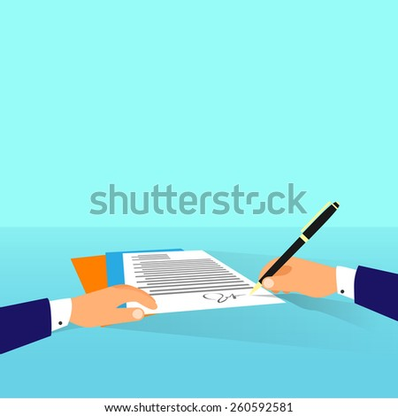 Business man document signing up contract agreement, Businessman workplace at office desk write flat vector illustration - stock vector