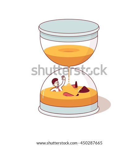 Business man downing inside hourglass flowing sand. Deadline and time is money concepts. Modern flat style thin line vector illustration isolated on white background. - stock vector