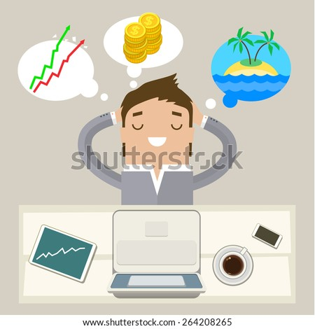 Business man dreaming on a cloud. Concept of big dreams - stock vector