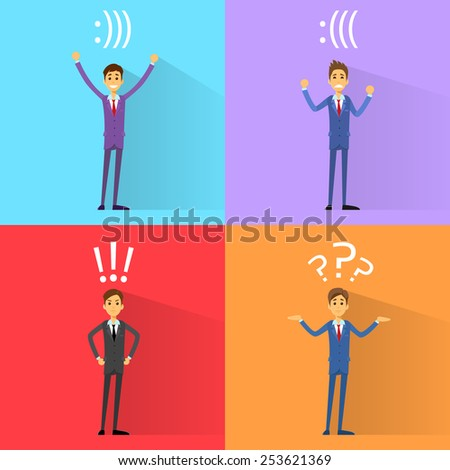 business man emotions set with exclamation, question mark and smiley bracket sign vector illustration - stock vector
