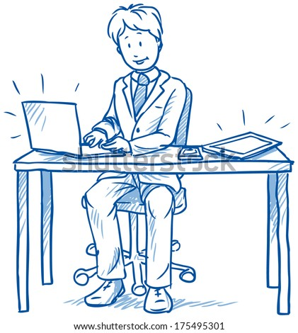 Business man employee being happy sitting at his desk with laptop, tablet and cell phone, hand drawn sketch vector illustration - stock vector